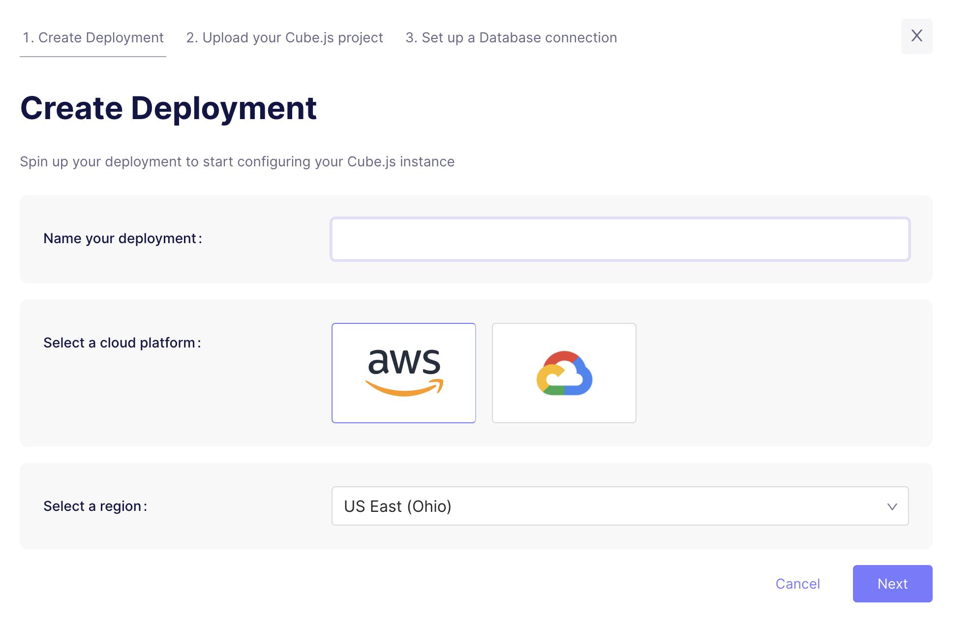Cube Cloud Create Deployment Screen